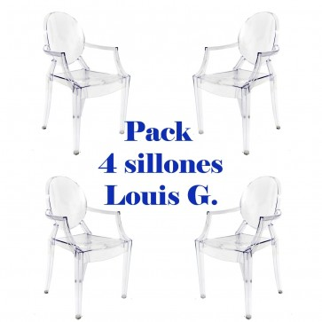 Pack 4 sillas Louis Ghost Transparentes