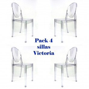 Pack 4 sillas Victoria Ghost Transparentes