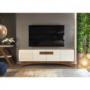 Mueble AUDRY, multiusos, 4 puertas, madera, gris con roble, 180 cms.