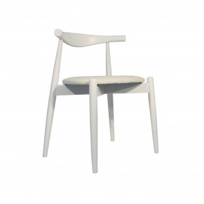 "Silla estilo CH20 - ""Elbow Chair"" Blanca"