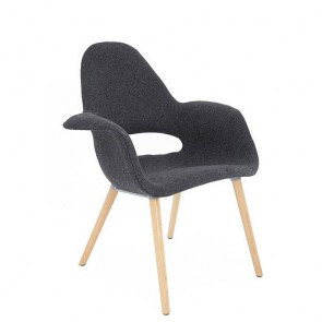 Sillón Tower Wood tapizado gris